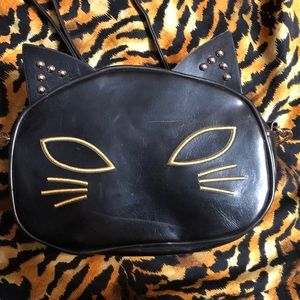 Cat Purse Black and Gold